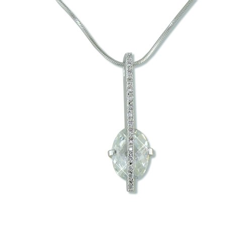 Trapped Cubic Zirconia Rhodium Necklace