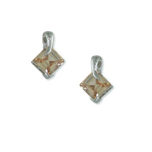 Champagne Cubic Zirconia Rhodium Earrings