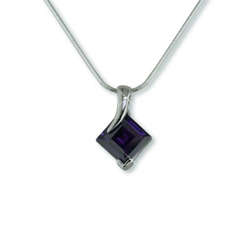 Amethyst Cubic Zirconia Rhodium Necklace