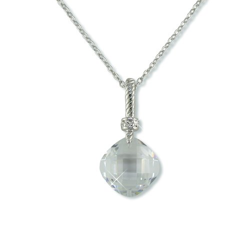 Double-sided Cubic Zirconia Rhodium Necklace