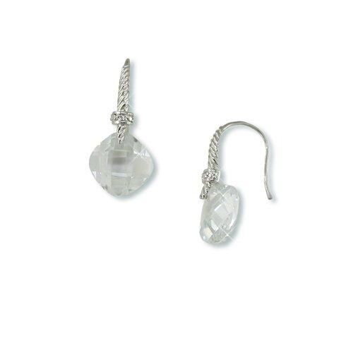 Double-sided Cubic Zirconia Rhodium Earrings