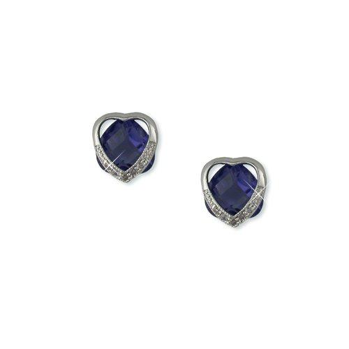 Heart-shaped Blue Tanzanite Cubic Zirconia Earrings