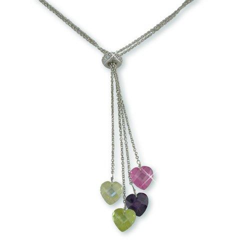 Multi-color Cubic Zirconia Hearts Necklace