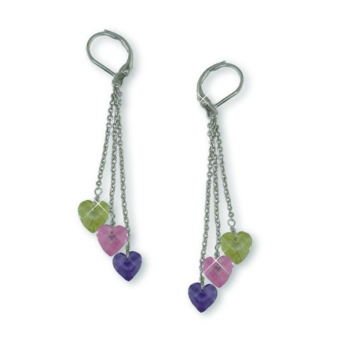 Multi-color Cubic Zirconia Hearts Earrings