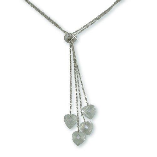 Cubic Zirconia Dangle Hearts Necklace