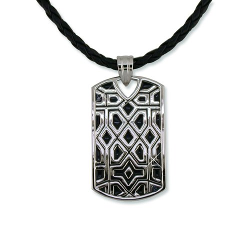 Black & Rhodium Dog Tag Necklace (N6294)