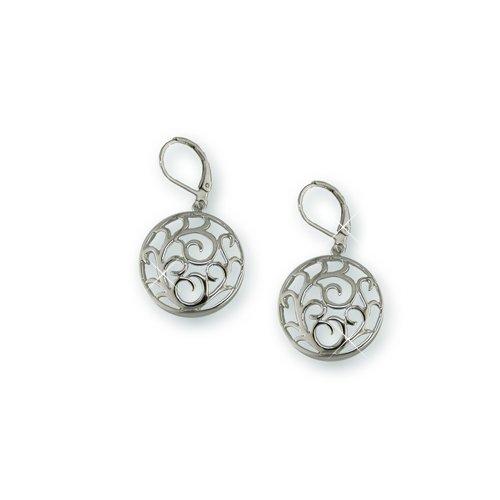 Rhodium Medallion Earrings (EE5450S)