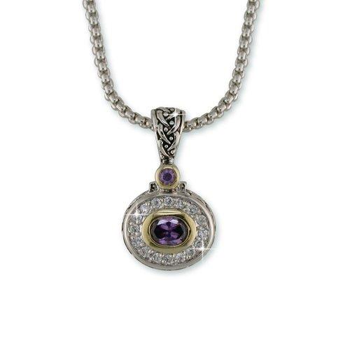 Amethyst Antique Rhodium Necklace (N6856A)