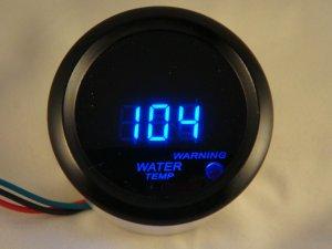 "2"" Digital Water Temperature Gauge Black with Cobalt Blue LED"