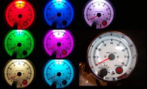 """3-3/4"""" TACHOMETER CHROME WITH SHIFT LIGHT 7 COLOR NEW"""