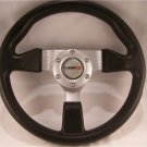 "Steering Wheel 12 3/4"" Brushed Aluminum 3 Spoke Center 6 hole Momo Bolt Pattern"