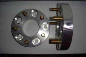 """1"""" Wheel Spacers Adaptors 5 Lug 5x5"""" (127mm) to 5x5"""" 12mm studs 1 Pair"""
