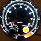 """3-3/4"""" Chrome Tachometer Black Face White Backlight 0-8000rpm Red Shift Light"""