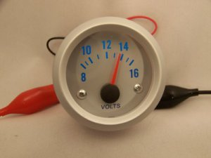 """2"""" Electronic Volt Gauge Silver Bezel with Silver Face Voltmeter Red Pointer"""