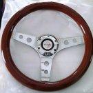 "13"" Mahogany Wood Steering Wheel chrome 3 spoke with holes 2-3/4"" momo bolt pat."