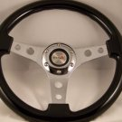 """13"""" Black Steering Wheel chrome 3 spoke center with holes momo 2-3/4"""" bolt pat."""