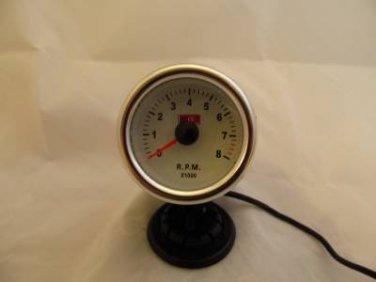 "2"" Tachometer Gauge Chrome with White face and white back light 2 in Tach"