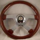 """Wood Mahogany 13-3/4"""" Steering Wheel Four Spoke Chrome Center 4 Spoke Wheel"""