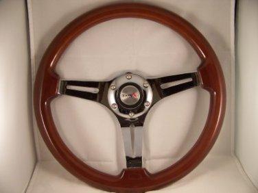 "14"" Mahogany Steering wheel 3 spoke chrome slots with adaptor GM Chevy '69 & up"