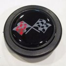 Corvette Style Red and Black Flags Horn Button  NEW 2 INCH - for momo, sparco