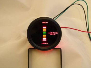 "Air/Fuel Ratio Gauge 2"" Red LED Digital Black face with Red/Yellow/Green Digits"