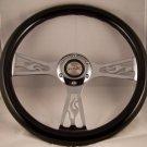 "Black Flame Steering Wheel 14"" 6 hole momo bolt pattern chrome flame center"