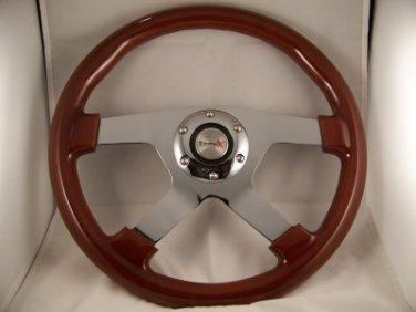 "14"" Mahogany Steering wheel 4 spoke chrome center with adaptor VW 74-88 Porsche"