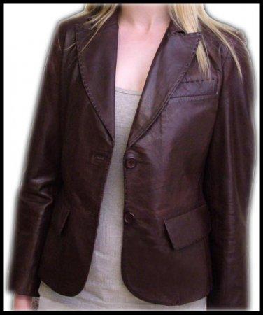 ladies Brown leather Blazer jackets Lamb Leather