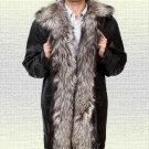 Silver Fox Fur Collar Leather Jacket