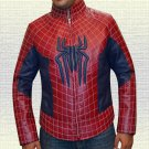 Amazing Spidy web PU Leather Jacket Spider Logo on Chest For Men