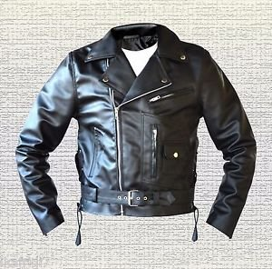 Terminator 2 Judgement Day Arnold  Biker Black Leather Jacket size Small-5XL Men