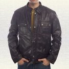 Wanted Wesly Gibson Biker Black Leather Jacket size Small-4XL Men