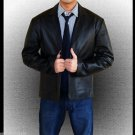 Men Official Casual  Handmade Genuine Blue Leather Blazer Coat S-5XL