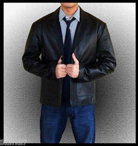 Men Official Casual  Handmade Genuine Blue Leather Blazer Coat S-5XL