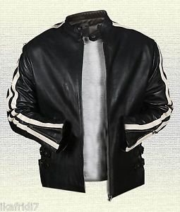 LETHAL WEAPON 4 MARTIN RIGGS Handmade Sheep LEATHER JACKET Black Small-5XL