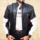 Men Biker Handmade Cow Leather Jacket Black size Small-4XL