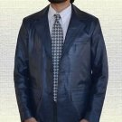 Men Official Casual  Handmade Genuine Blue Leather Blazer Coat all size S-5XL