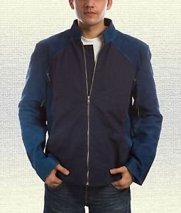 Captain America Steve Roger  Handmade Blue Leather Jacket Size Small-5XL Men