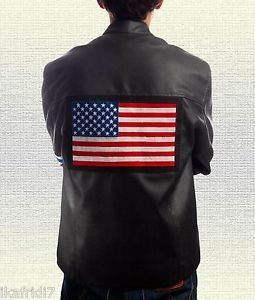 "Easy Rider ""Peter Fonda""  Handmade Sheep Leather Jacket Red Black S-5XL"
