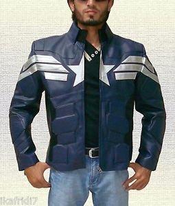Captain America Winter Soldier Biker Blue Leather Jacket size Small-4XL Men