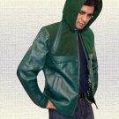 Stephen Amell Green Arrow Handmade Hoodie Leather Jacket Men Sizes Small-5XL