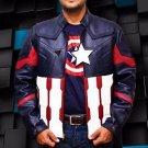 Captain America Civil War Biker Blue HandmadePU Leather Jacket size Smal-4XL Men