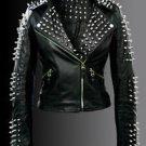 Ladies Metal Studs Biker Fashion Handmade Black Leather Jacket in all Sizes