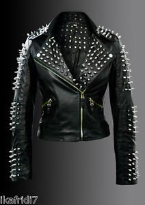Ladies Metal Studs Biker Fashion Handmade Black Leather Jacket in all Sizes