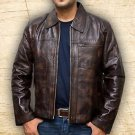 Men Inception Cobb Leonardo Dicaprio Brown Handmade Leather Jacket Size Smal-5XL