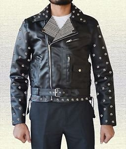 Stylish Metal Studs Biker Fashion Handmade Men Black Leather Jacket in all Sizes