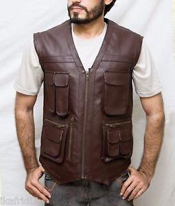 Chris Pratt Jurassic World Handmade Brown Synthetic Leather Vest Size Small -5XL