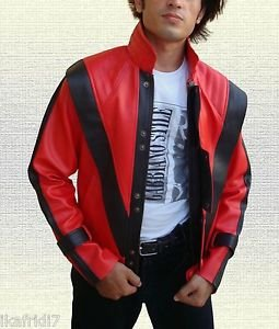 """Michael Jackson """"Thriller"""" Song Handmade Synthetic Red Leather Jacket Small- 5XL"""
