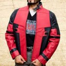 Deadpool Synthetic Leather Jacket Red and Black  Handmade Red Leather all sizes