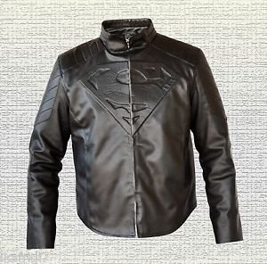 Superman SamllVille Dram Series Handmade Black Synthetic Leather Jacket Sizes